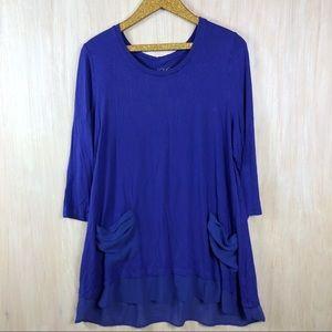 LOGO Lori Goldstein Purple Pocket Tunic Shirt XL